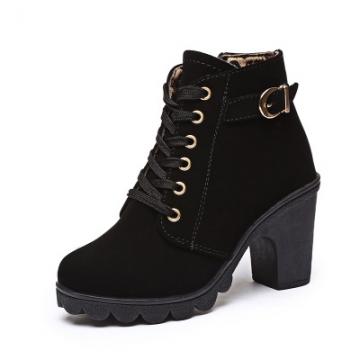 Autumn Winter Velvet Short Ankle Boot Thick Heels Wild Black Matte Female  Martin boots black US5