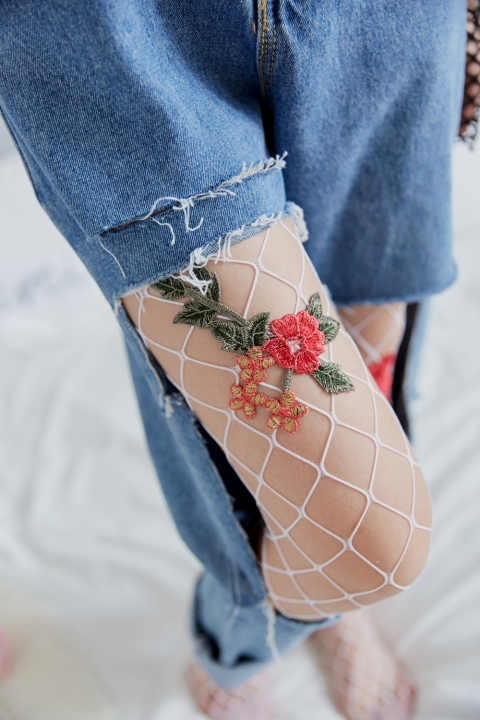21d58137aeb3a Sexy Women Fishnet Handmade Women Tights Embroidery Pantyhose Female Stockings  Hosiery white one size