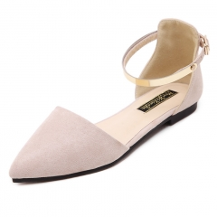 Women's Pointed Toe Moccasins Ballet Flats  Metal Ankle Strap Flat Shoes Ladies Buckle Sandals apricot 37
