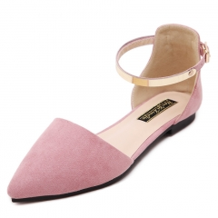 Women's Pointed Toe Moccasins Ballet Flats  Metal Ankle Strap Flat Shoes Ladies Buckle Sandals pink 36