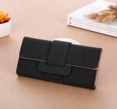 Women wallets leather purse high quality women Long Section Wallet  Simple Women Wallet black one  size
