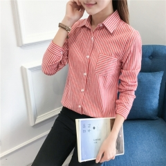 New Cotton Casual Long Sleeve Stripe Shirts Women Blouses Excellent Quality  Female Clothes red s
