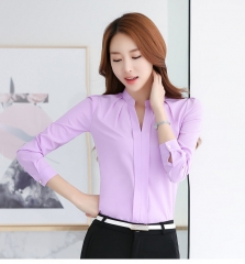 Women Tops Long Sleeve Casual Chiffon Blouse Female V-Neck Work Wear Solid Color White Office Shirts purple l