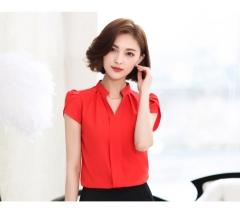Chiffon Blouses  Fashion Summer Slim Women Shirt Elegant Solid Color Short Sleeve  Tops V-neck red l