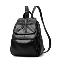 Fashion Backpacks Women's PU Leather Backpack  Casual Vintage Large Capacity Travel Backpack black  2 one size