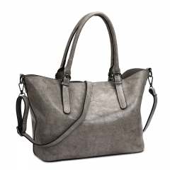 Brand handbag women casual large tote bag   high quality artificial leather solid crossbody bags gray one size
