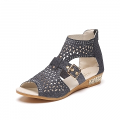Summer shoes high to help fish mouth hollow sandals female zipper slope with diamond diamond shoes black 39