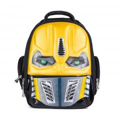 3D New Robot Cartoon School Bags For Girls Boys Cool Children Backpack With LED Flashing yellow