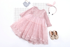 Lace Patchwork Flowers Girl Party Dress Wedding Birthday Girls Dresses Fake Two  Princess Kids Dress pink 140cm
