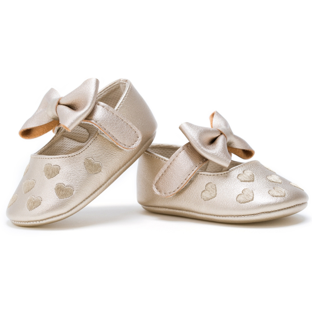 33f1c77b9028e Big bow embroidery love pu leather baby girl shoes non-slip soft ...