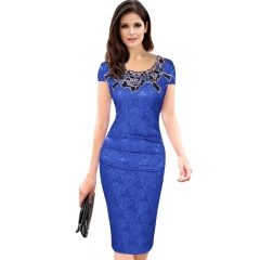 Elegant women party vintage female hollow out floral appliques O Neck pleated rose lace dresses blue s