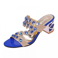 Female Slippers Med Heel Sandals Platform  Rhinestone  Sapato BlingBling Women Slippers blue 41