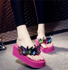 New Summer Women's Flip Flops Handmade Flowers Slip-On Sandals Embroidered Butterfly Slippers rose  red 40