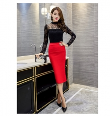 Women's Fashion Business High Waist Skirts Sides Split Slim Long  Solid Color Skirt red s