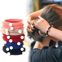 5pcs Elastic Hair Bands for Women Hair Rubber Band Rubber Rope Head Band Pearl Ornament Hairband random one size