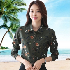 Womens Office Work Shirt Autumn Fashion Slim Elegant Printing   Shirt Tops Woman  Blouses Shirts Dark green s