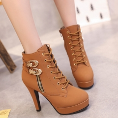 Women Martin Boots Platform Suede Women High Heels Boots Black Sexy Ladies Boots Shoes Heels brown 38