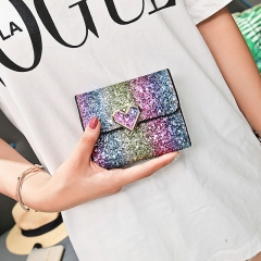 Rainbow Multicolor Sequined Shiny Clutch Bag PU Women's Multifunction Short Wallet heart one  size