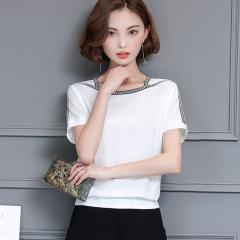 Women Tops Trends Batwing Sleeve Shirt Female Solid O-Neck Summer Chiffon Blouse white s