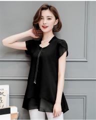Hot Sale Summer Women Chiffon Blouse Loose Shirt V-Neck Blouse Short Sleeve Top   Female Shirts black m