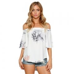 Summer Chiffon Women Off Shoulder Blouse Tops Clothes Slash Neck Short Sleeve Floral Print Shirt white s