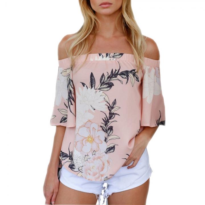 c14ba38e669 Summer Chiffon Women Off Shoulder Blouse Tops Clothes Slash Neck Short  Sleeve Floral Print Shirt pink