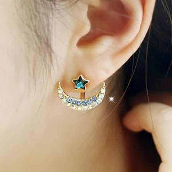 Fashion elegant earrings five-pointed star after hanging imitated colorful diamond earrings green one size