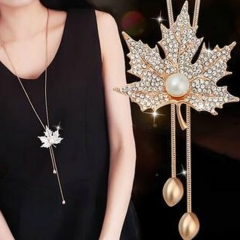 New fashion maple leaf imitated pearl long necklace simple elegant necklace gold one size