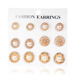 Fashion retro imitated diamond pearl flower 6 pair of earrings simple elegant earrings set gold one size