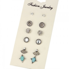 New fashion retro multi-shape earrings set simple elegant 6 pairs of earrings as picture one size