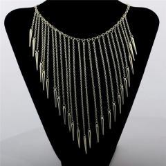 Fashionable simple necklace exaggerated rivet tassel necklace silver one size