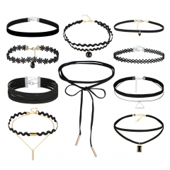 Simple fashion elegant necklace sweet lovely lace necklace set black as picture