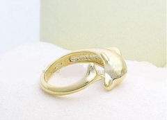 Simple fashion dolphin adjustable ring gold one size