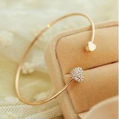 Fashion open bracelet double peach heart  bracelet gold one size