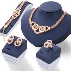 Fashion Elegant Jewelry Set Necklace Earrings Bracelet Rings Five Rings Set 4pcs Jewelry Set gold as picture