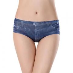 3D printed denim underwear fashion ladies triangle underwear blue one size