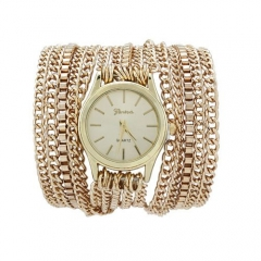 Geneva long band around 3 laps chain table European and American national style fashion watches gold