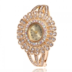 Zircon Bracelet Table Hollow Flower Bracelet Fashion Bracelet Watch Ladies Watch Yellow