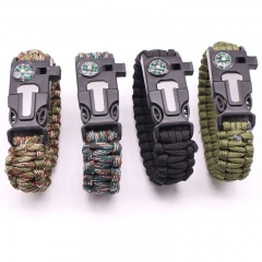 War Wolf 2 with the compass flint whistle multi-functional umbrella outdoor emergency ring Army green 25*2.2*0.8cm