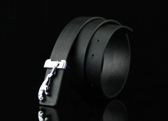 Explosive fashion smooth buckle belt men's imitation leather buckle belt black 110*3.3cm