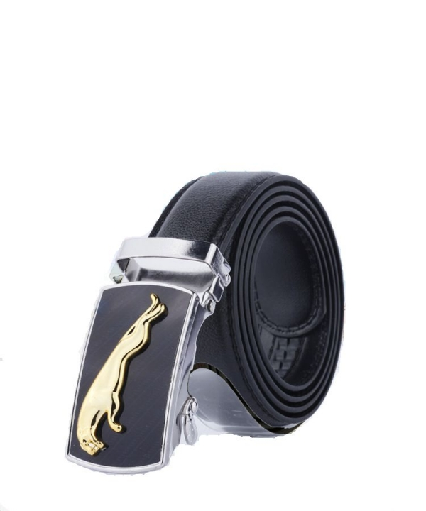 Wild men's belt PU leather automatic buckle men's belt Jaguar 110*3.5cm