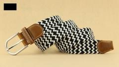 Elasticated men 's belt Teenager student woven belt weaving elastic needle buckle belt black and white 100*3.3cm