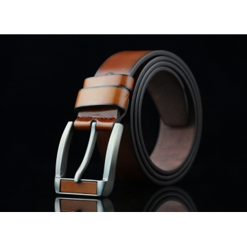 New men 's belt imitation head needle buckle belt youth retro jeans belt brown 113*3.7cm