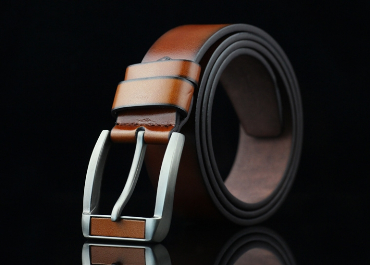 New men 's belt imitation head needle buckle belt youth retro jeans belt brown 113*3.7cm