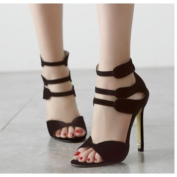 Euro Korean thin high heels hollow out women fashion Rome sandals shoes Black Euro 38