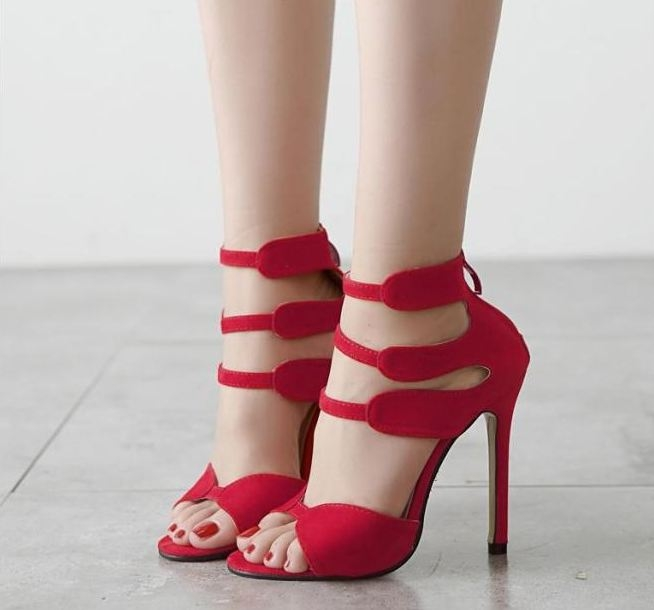 Euro Korean thin high heels hollow out women fashion Rome sandals shoes Red Euro 35