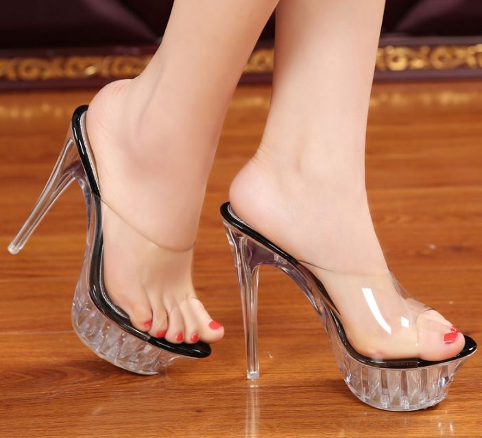 3e1edc28abf Item specifics  Brand  Women female sexy ultra thin high heels catwalk crystal  transparent slippers shoes