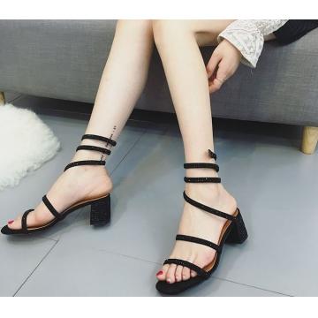 fashion women's snake-shaped winding shoes rhinestone female Rome sandals black euro 37