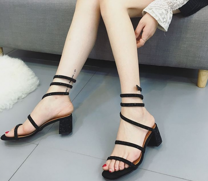 fashion women's snake-shaped winding shoes rhinestone female Rome sandals black euro 38