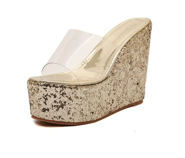 Luxury sexy all-match women wedge high heels sandals shoes slippers Gold euro 37